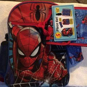 Spider-Man 5 piece backpack set NWT Super Cool!